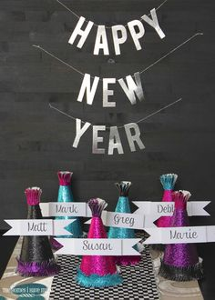 New Year Place Cards hat place cards! Fun idea!