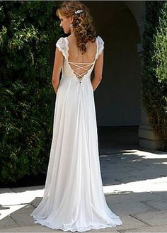 Elegant Exquisite Chiffon V-Neck And Cap Sleeve Wedding Dress-- id have to get rid of my back chub, but so pretty