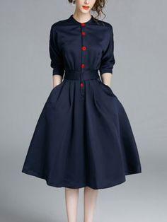5分袖 ウェスト絞り 着痩せ 紺色 大裾 おしゃれ ひざ丈 デートワンピース