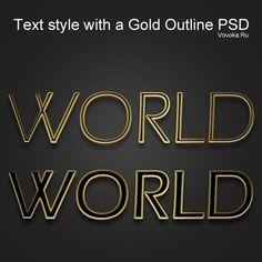 Стиль Текста с Золотым Контуром PSD