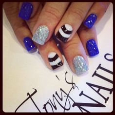Blue, Silver, Black, and White Nails