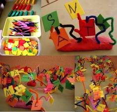 El nostre nom convertit en una escultura de colors. Aula de cinc anys.