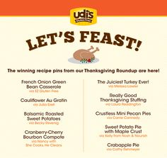 Let's Feast! We've picked the Udi's Gluten Free Thanksgiving Menu from our #TDAYROUNDUP. Pin for the recipes!