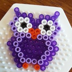 Sovička z korálků / Owl hama perler beads by Perler Bead Designs, Hama Beads Design, Diy Perler Beads, Perler Bead Art, Pearler Beads, Owl Perler, Melty Bead Patterns, Pearler Bead Patterns, Perler Patterns