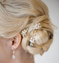 DIANNE HAIR PINS  These hair pins have been crafted by hand wiring Swarovski pearls & crystals. They are a beautiful simple touch to your