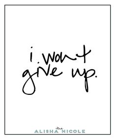 I Wont Give Up — The Alisha Nicole