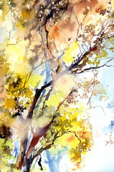 Trees Watercolor Painting Art Print Fine Art Print from Watercolor Painting Nature Landscape Painting Forest Watercolour Painting Wall Art