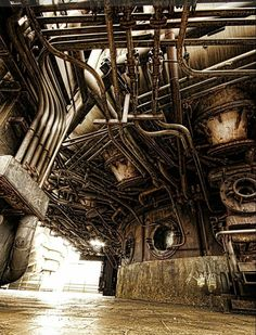 Tubes and pipes II by hakkat on DeviantART a picture taken at the landschaftspark (Duisburg, Germany) Abandoned Buildings, Abandoned Places, Abandoned Detroit, Abandoned Train, Abandoned Homes, Bg Design, Abandoned Factory, Industrial Architecture, 3d Studio
