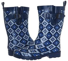 Capelli New York Tribal Block Geo Print Ladies Rain Boots Navy Combo 9 >>> Want to know more, click on the image.