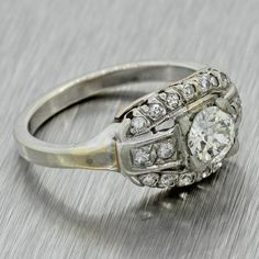 This is a 1930s Antique Art Deco 14k Solid White Gold .45ct Diamond Cluster Ring EGL. This ring suggested retail price is $2,730 USD. It will come in a lovely r