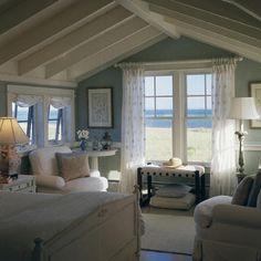 Great little beach bedroom...I'd add a cute chandelier & a few other beachy details...