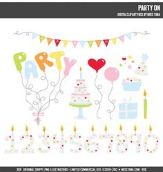Party On Digital Clipart Clip Art Illustrations  by MissTiina, $5.00