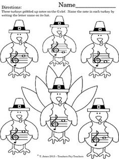 Gobble Gobble!  G Clef Gobblers!  Note reading practice - lots of fun!