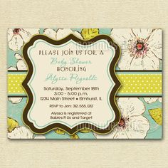 Vintage Blooms  Aqua  Baby Shower Invitation  by MommiesInk, $12.00    REALLY like this one and the colors almost match the theme!