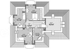 Projekt domu Ariadna II 135,9 m2 - koszt budowy - EXTRADOM Simple House Design, Dream Home Design, Sims House Plans, Plan Design, Villa, Floor Plans, Flooring, How To Plan, Mansions