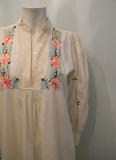 vintage. 70s Cream Embroidered Tunic Dress // by styleforlife, $152.25