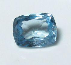 Natural ct Magnificent Bright Blue Aquamarine Cushion x 13 mm Brazil Rare Gemstones, Natural Gemstones, Garnet Gem, Aquamarine Blue, Gem Stones, Peridot, Topaz, Brazil, Cushion