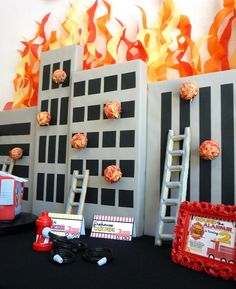 Fireman Birthday Party Celebration {Fire Truck Ideas} - Spaceships and Laser Beams Birthday Party Celebration, Birthday Party Themes, Boy Birthday, Fireman Cake, Fireman Party, Cake Pop Displays, Firefighter Birthday, Party Time, Fire Truck