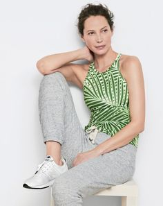 New Balance® for J.Crew racerback tank top with built-in sports bra in palm print, 247 sneaker and J.Crew women's heathered sweatpant. Summer Fashion Outfits, Spring Summer Fashion, Preppy Fashion, Athleisure Outfits, Got The Look, Preppy Style, Racerback Tank Top, Fitness Fashion, Style Inspiration