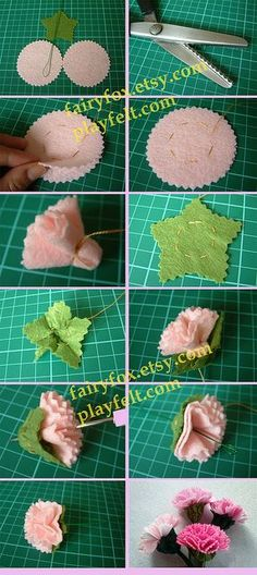 Felt carnation flower tutorial with photos. First I've seen a carnation - well done! Felt Diy, Felt Crafts, Fabric Crafts, Sewing Crafts, Paper Crafts, Diy Crafts, Santa Crafts, Diy Paper, Handmade Flowers