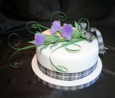 Scottish Thistle Wedding Cakes Gretna. - spun sugar thistles