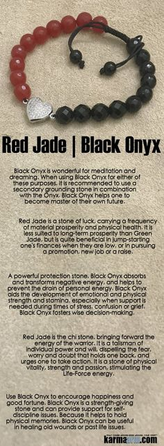 Red Jade is the chi stone bringing forward the energy of the warrior. It is a talisman of individual power and will dispelling the fear worry and doubt that holds one back and urges one to take action. It is a stone of physical vitality strength and Latest Jewellery Trends, Jewelry Trends, Yoga Bracelet, Earring Trends, Chakra Healing, Black Onyx, Crystal Jewelry, Stones And Crystals, Reiki