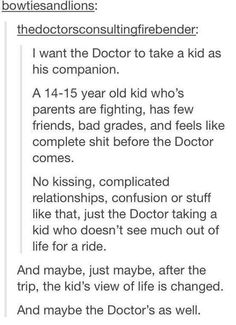 That'd be fun. Let it be a snarky kid and he actually solves a lot with off the wall ideas that aren't supposed to be taken seriously, by it's the doctor so he does. Movie Memes, Movie Tv, Complicated Relationship, Fandom Crossover, Don't Blink, Film Serie, Criminal Minds, Book Fandoms, Dr Who