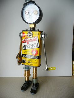 Joe Wrench Bot Found Object Assemblage Robot by JoySunBotsAndBooks, $150.00