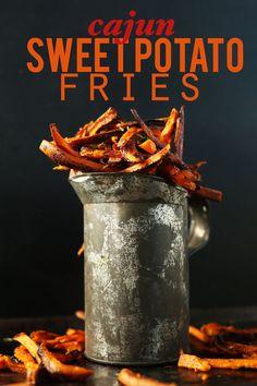 Cajun Baked Sweet Potato Fries! Simple ingredients, quick and SO flavorful! #vegan #glutenfree