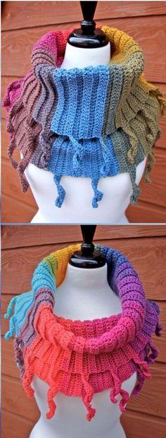 Crochet Funky Curly Cute Cowl Free Pattern - Crochet Infinity Scarf Free Patterns