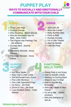 Puppet Play: How to Help Your Child Self-Regulate their Emotions and Behaviors - Integrated Learning Strategies Learning Tips, Kids Learning Activities, Sensory Activities, Infant Activities, Sensory Toys, Sensory Diet, Early Learning, Emotional Development, Language Development