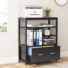 Tribesigns Wood Lateral File Cabinet with Drawer for Letter Size, Large Modern Filing Cabinet Printer Stand Printer Storage, Printer Stand, Cube Storage, Storage Shelves, Storage Spaces, Locker Storage, Printer Cabinet, Large Drawers, Cabinet Drawers