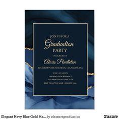 Shop Elegant Navy Blue Gold Marble Agate Graduation Invitation created by classactgraduation. Elegant Invitations, Zazzle Invitations, Invitation Design, Invitation Text, Blue Gold, Navy Blue, High School Classes, Graduation Party Invitations, Business Events