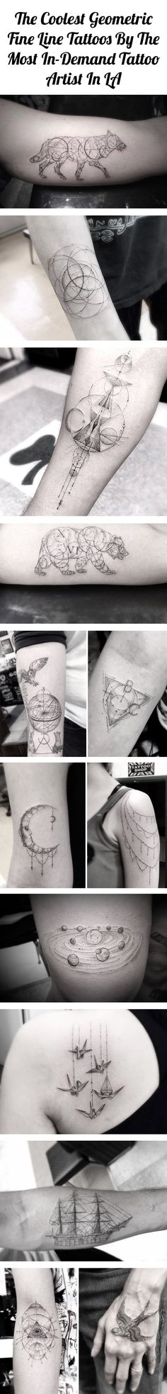The coolest geometric fine line tattoos by the most in-demand tattoo artist in LA
