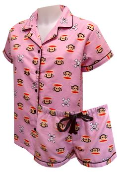 Paul Frank Julius And Skurvy Pink Flannel Shortie Pajamas, $26 With classic cut styling and adorable Julius the monkey and his buddy Skurvy, who wouldnt love these pajamas? These shortie flannel pajamas for women feature Julius and Skurvy on a pink background. Black satin piping and a satin black tie at the waistband finish off this pj set nicely. Junior cut.