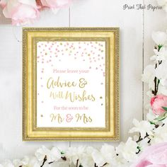 Bridal Shower Sign  Advice and Well Wishes Sign  Please