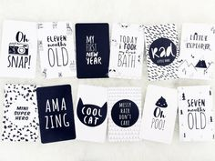 Yolo Kidz Baby Milestone Cards.  Mark the special moments in your little one's life with our monochrome baby milestone cards.  You won't miss a moment with 62 fun designs printed on large double sided card stock.