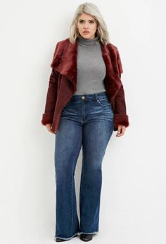 Forever 21+ - A pair of flared woven jeans featuring a frayed hem, a five-pocket construction, a short inseam, and a zip fly.