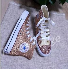 Champagne crystal Converse Shoes, Rhinestone high top converse sneaker Wedding Flower Girl Shoes, w Cheap Converse Shoes, Mode Converse, Outfits With Converse, Custom Converse, Sparkly Converse, Shoes Sneakers, Men's Outfits, Girls Sneakers, Polyvore Outfits