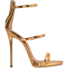 Giuseppe Zanotti Coline 3 Strap sandal ($845) ❤ liked on Polyvore featuring shoes, sandals, heels, gold, gold strappy sandals, gold shoes, strappy shoes, gold heeled sandals and gold strappy shoes