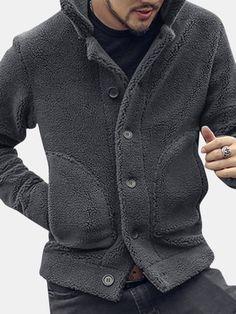 Casual Turn Down Collar Zip Up Shearling Coat Inside Fleece Thicken Chaquetas para hombres Cool Jackets, Winter Jackets, Cardigan Gris, Site Mode, Costume Noir, Winter Shorts, Pantalon Costume, Look Man, Collar Designs