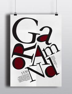 Garamond typeface poster cartaz, projeto do cartaz da tipografia, poster er Typo Poster, Poster Fonts, Typography Poster Design, Typographic Poster, Garamond Font, Design Café, Design Ideas, Typeface Font, Lettering