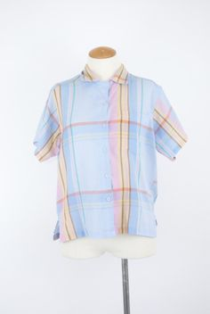 Vintage 80's Plaid Button Down // Pastel Blue by TingleVintage