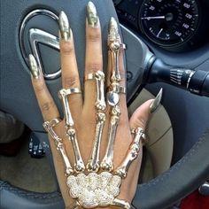 Jewels: skull skeleton gold ring skeleton ring rings bracelet with ring ring bracelet skeleton