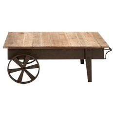 Woodland Imports Metal Wood Coffee Table