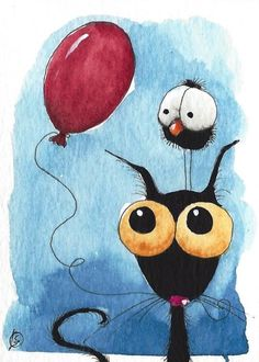 ACEO Original watercolor painting whimsical bird crow black cat red balloon #IllustrationArt