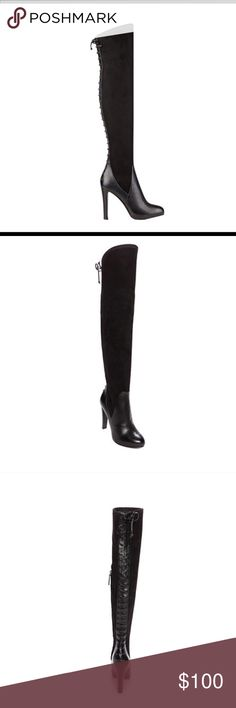 """NIB Black Nine West 5.5 Over The Knee Boots Brenna Hot OTK Style!! Black stretch over the knee boots with faux corset style back lace up detail.   Made by Nine West, size 5.5.  Style is Brenna.  4.75"""" heel .75"""" platform, 22"""" shaft, 15"""" calf circumference.  Pull on with partial inside zipper for easy on.  Almond toe, textile suede look upper and leather foot. Hottest boot of the season whether paired with skirts or skinny jeans.  Don't let it pass you by.  Selling for much more than this…"""