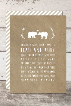 Wedding Invitation Printable  Customisable  Bears by FrankPinata, $35.00