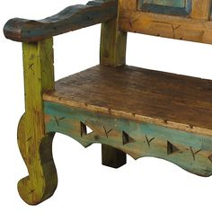 Mexican Bench - color inspirations for restored patio wood bench. Mexican Furniture, Western Furniture, Deco Furniture, Painted Furniture, Southwestern Benches, Modern Southwest Decor, Rustic Bench, Rustic Wood, Antique Booth Displays