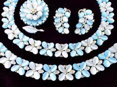 Lisner Blue Thermoset Lucit Clear Rhineston Necklace Bracelet Brooch Earring Set #Lisner
